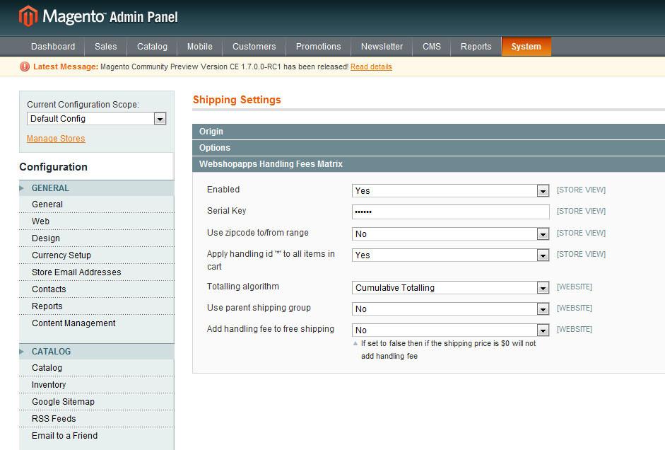 Handling Fees Matrix Configuration Page