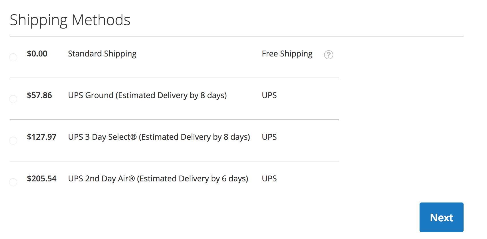 Magento 2 Checkout - UPS Time in Transit
