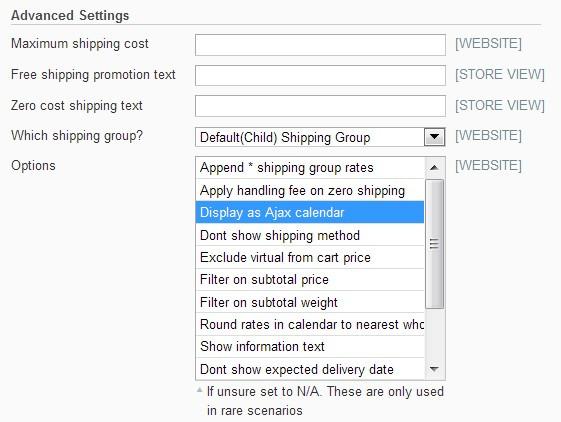 Shipping Calendar jquery select