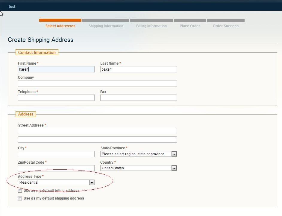 Create shipping address