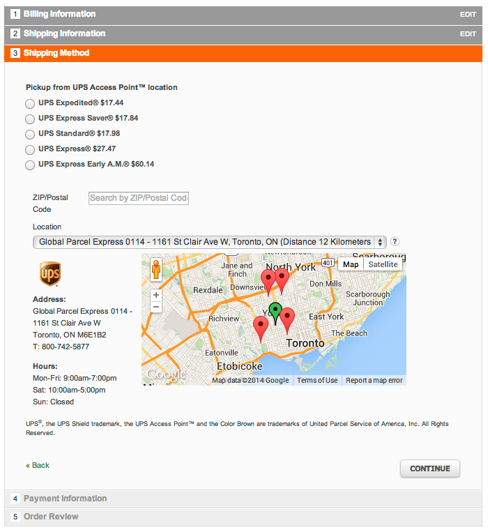 Delivery Options for UPS shows a map with pickup details in checkout