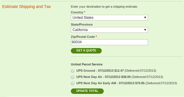 Shipping Calendar bullet point view at checkout