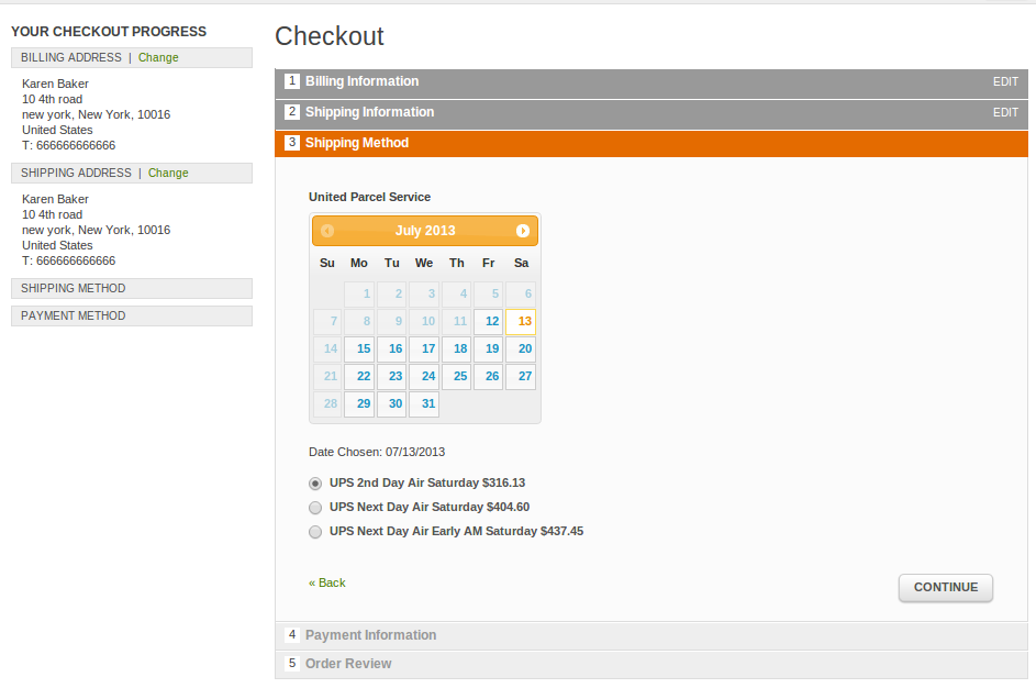 Shipping Calendar jquery view at checkout