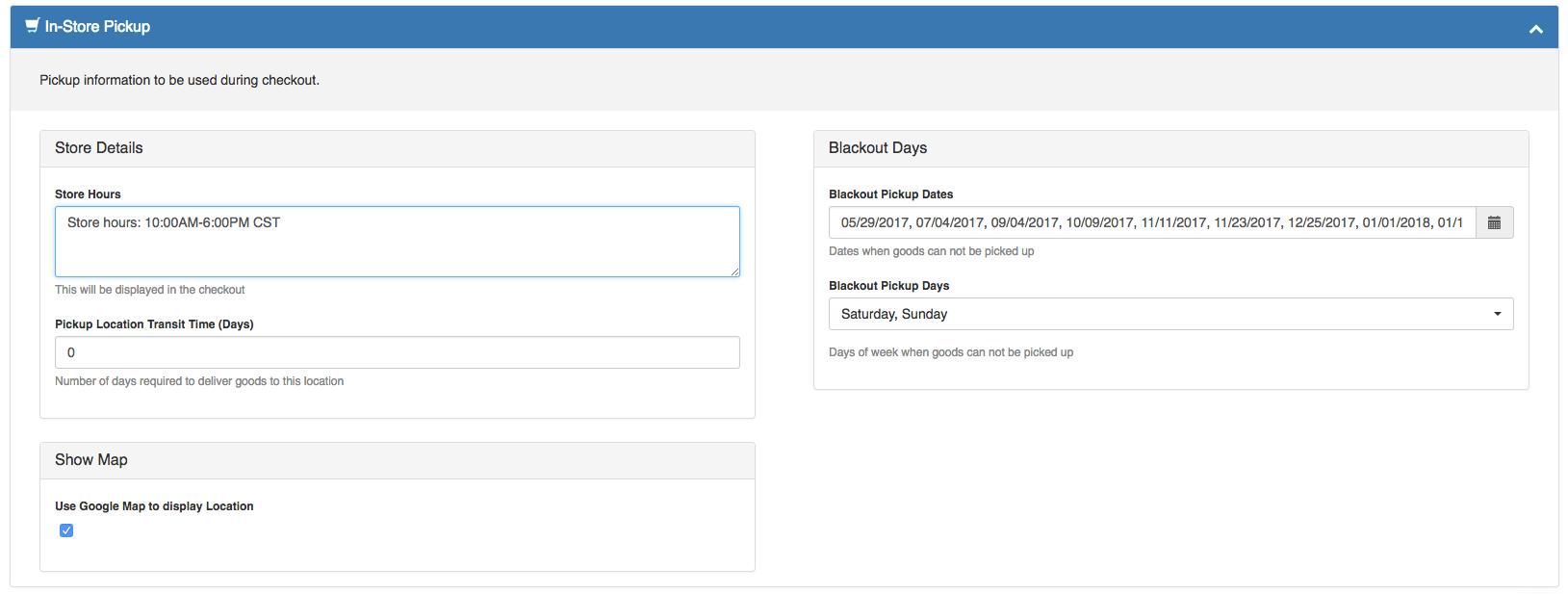 ShipperHQ Dashboard: Alter Pickup Location Settings