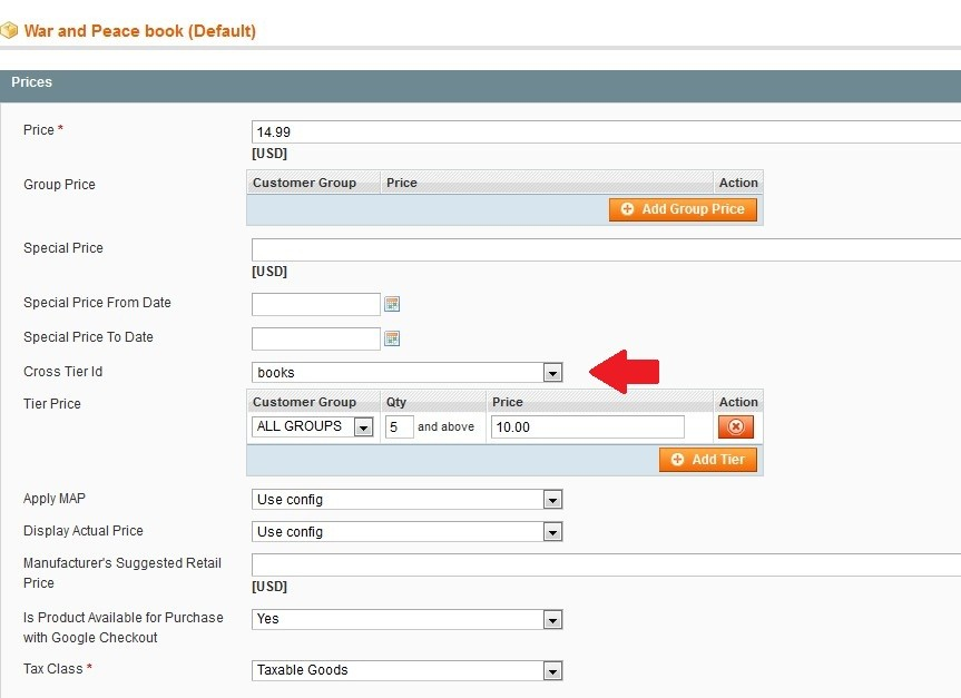 Assign cross tier id value to books and create tier prices