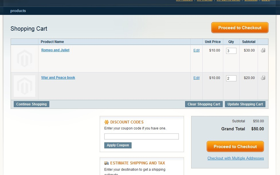 Tier pricing is applied as qty of 'books' in cart is 5