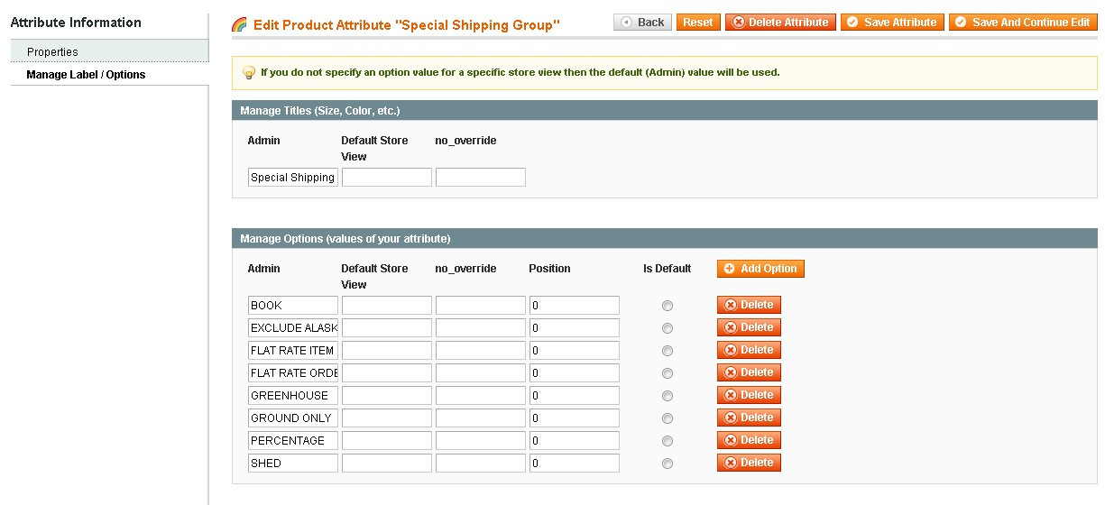 Set up your shipping groups