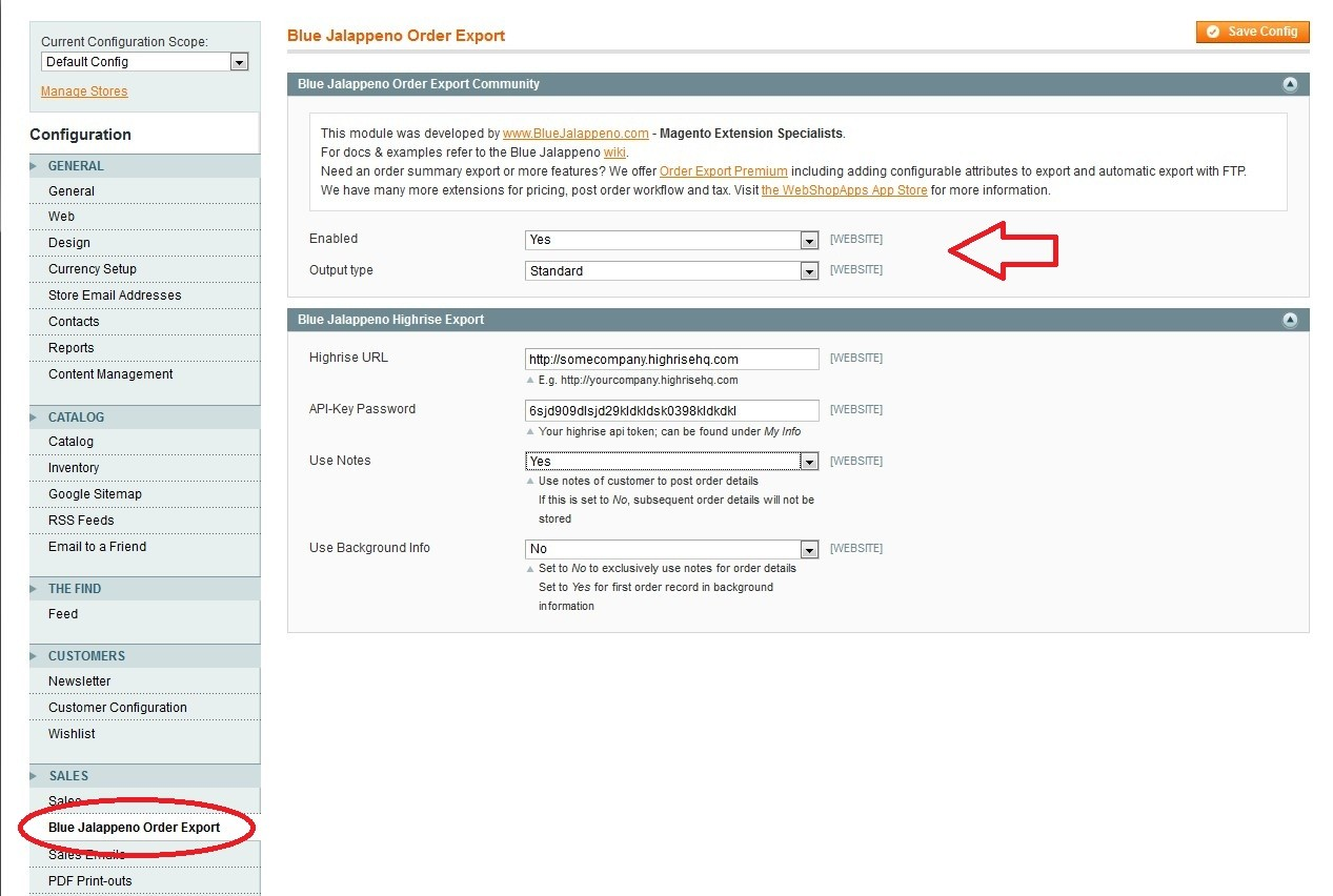 Configuration options - choose from standard CSV, formated for Sage 50 or export directly to Highrise