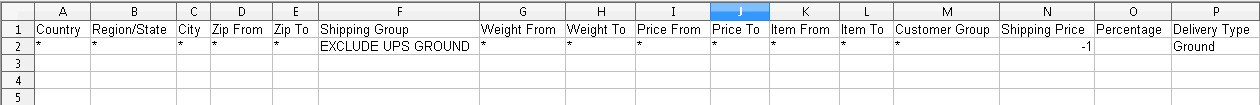 Exclude UPS Group CSV