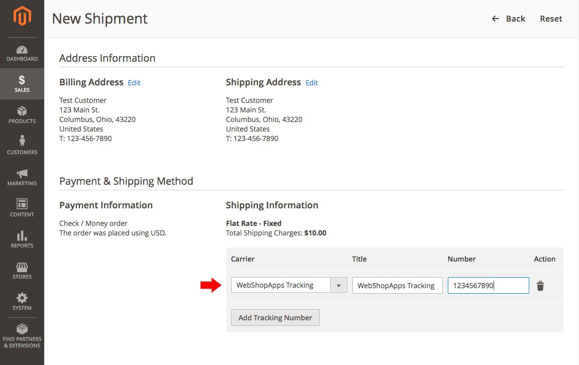 Shipping Tracker - Add Tracking to Order in Magento 2