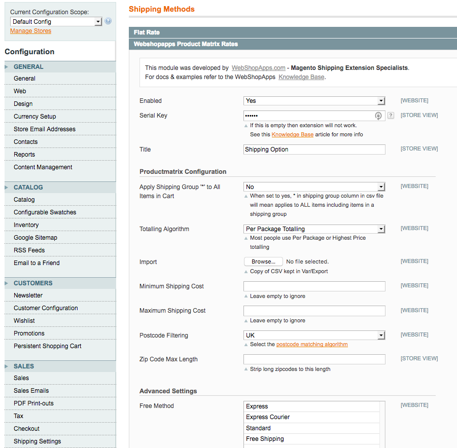 ProductMatrix Admin Panel View
