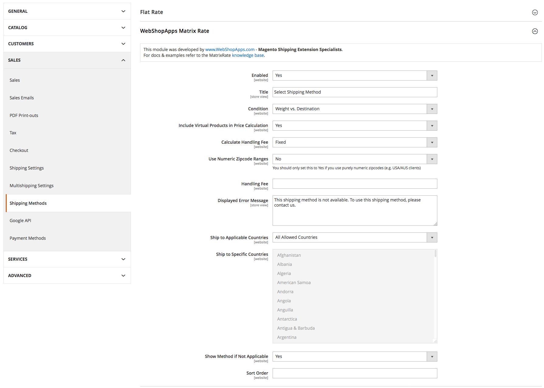 MatrixRate Configuration options