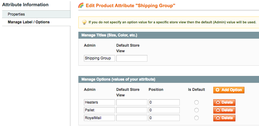Adding new shipping groups