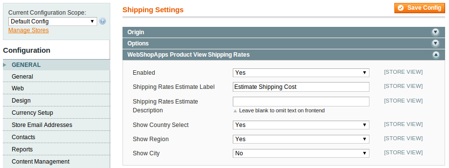 Product Page View configuration