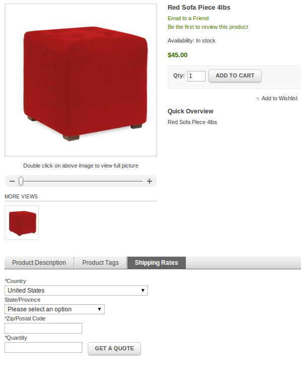 Product Page shipping rate estimator
