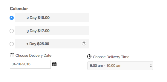 Show Available Delivery Days