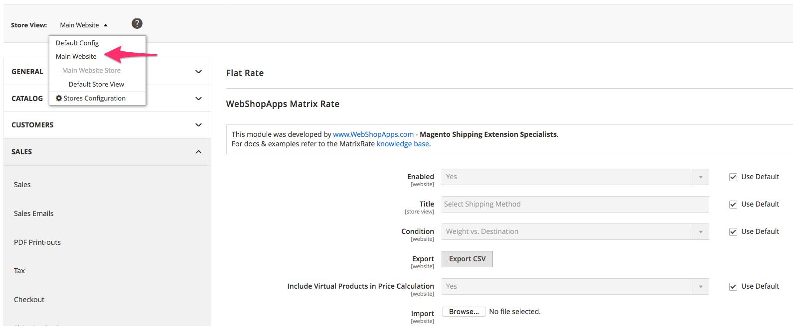 webshopapps matrixrate