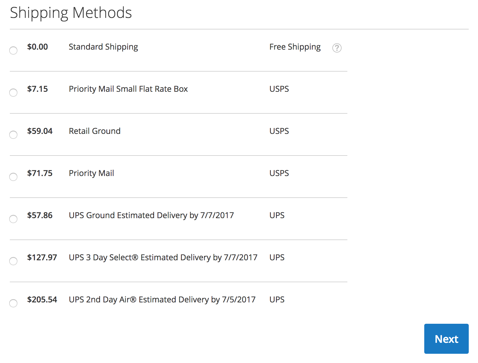 Magento 2 Checkout - USPS w/ multicarrier