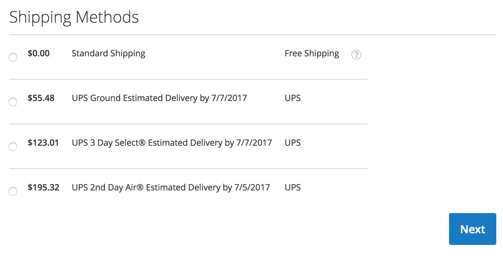Magento 2 Checkout - UPS