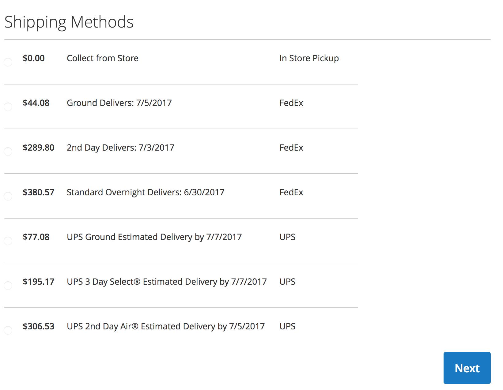 Magento 2 Checkout - UPS & FedEx