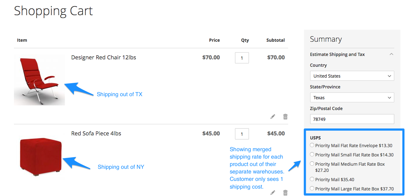 Magento 2 View: Merged Rates in Cart