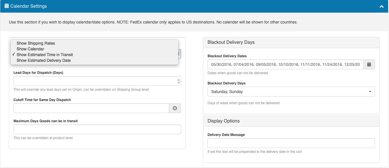 ShipperHQ Dashboard: Calendar settings for date & time display in cart/checkout