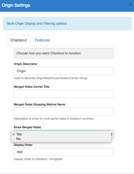 Choose to show Merged rates in cart for shipments out of multiple origins.