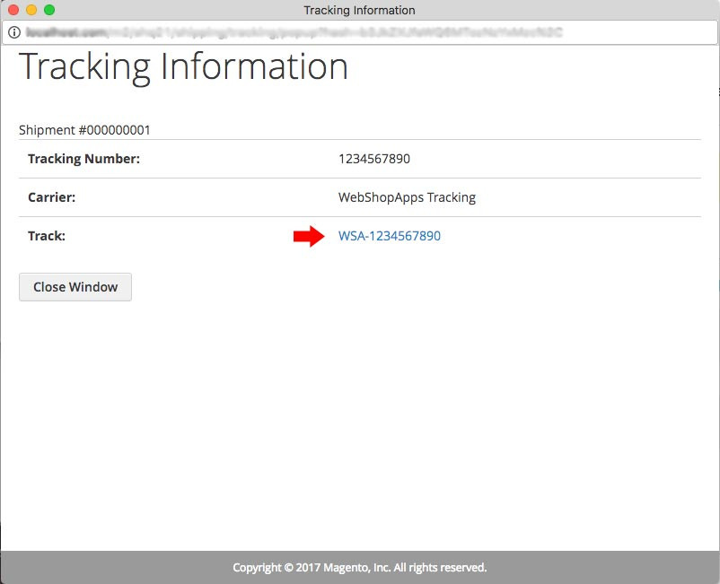 Shipping Tracking Number Popup